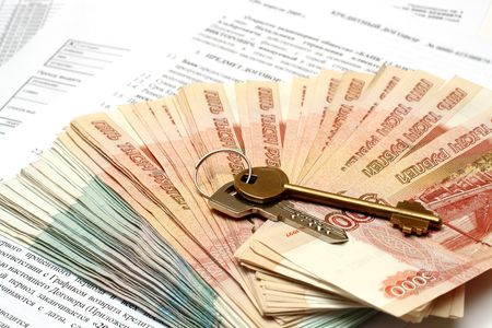 roubles: keys and russian money on credit contract