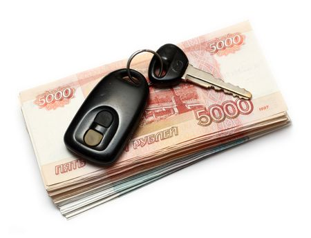 secondhand: keys of second-hand car and russian money Stock Photo