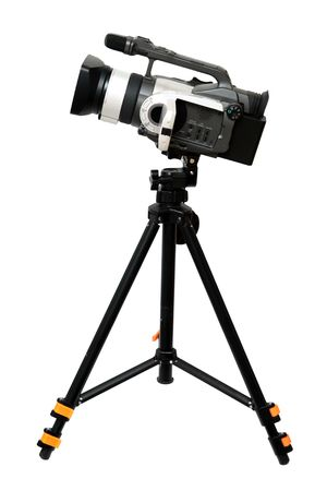 video camera: video camera on tripod isolated over white