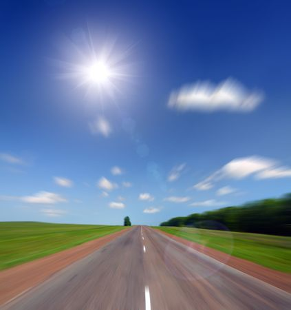 high speed motion blur road to sun