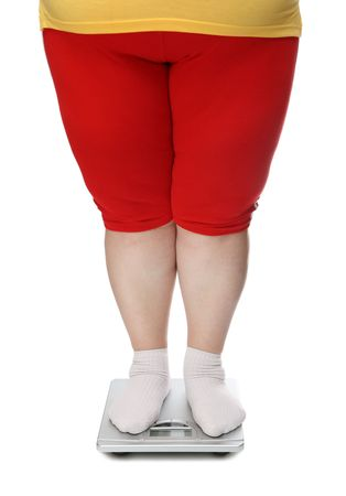 women legs with overweight standing on scales photo