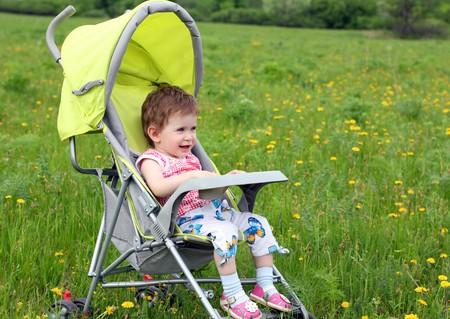 baby in stroller walking on green lawn