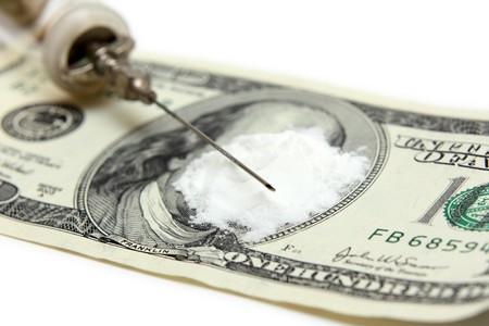 narcotic: criminal narcotic business concept - drug and money