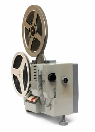 old obsolete 8mm projector isolated on white photo