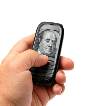 small black mobile phone in man hand with Franklin on screen photo