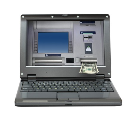 small laptop with cash dispense on screen photo