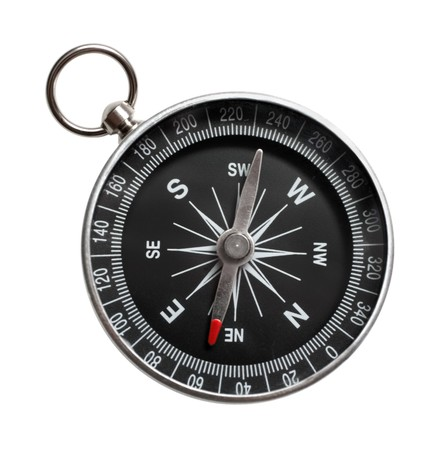 azimuth: compass close-up isolated on white background