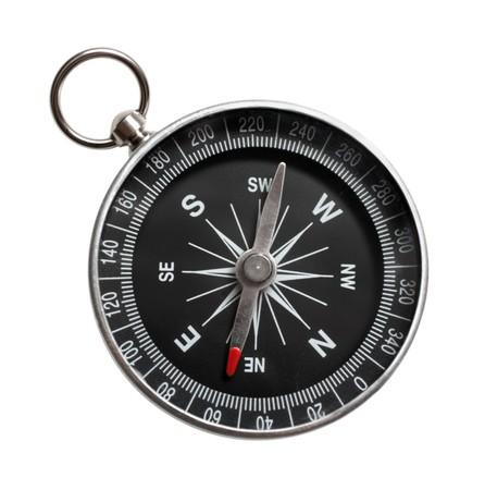 Kompass Nahaufnahme, isoliert auf weißem Hintergrund