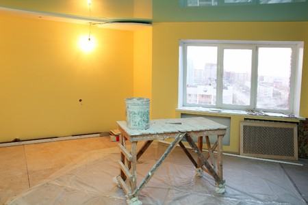 home interior renovation with trestle and paint photo