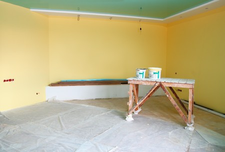 home interior renovation with trestle and paint Stock Photo - 8011714