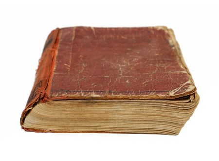 old obsolete battered book on white background Stock Photo - 8011721