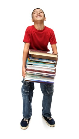 asian boy with heavy stack of books photo