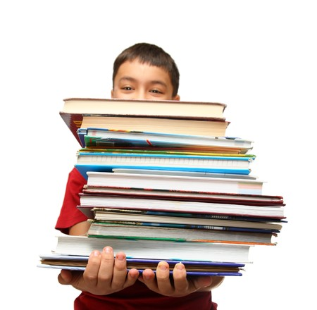 carry: asian boy with heavy stack of books