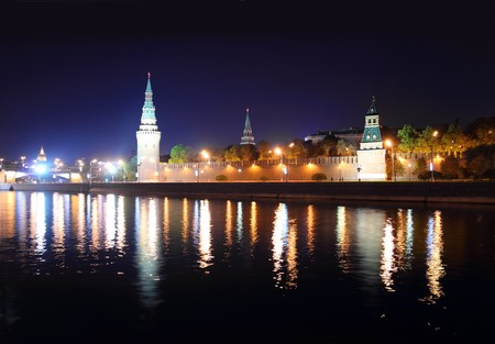moscow churches: view on kremlin from river at night in Russia Moscow Stock Photo
