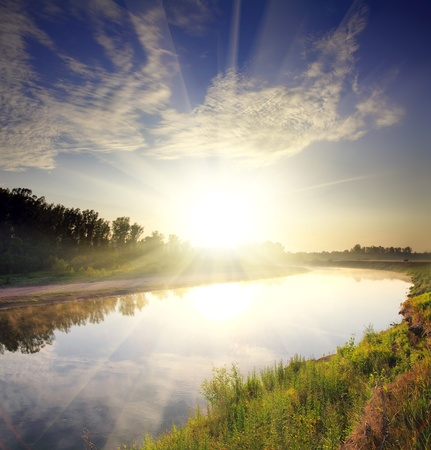 beautiful morning landscape with sunrise over river Stock Photo