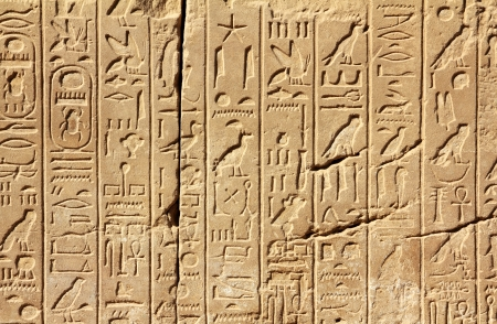 hieroglyphics: ancient egypt hieroglyphics on wall in karnak temple