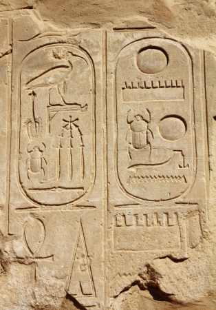 ancient egypt hieroglyphics on wall in karnak temple Stock Photo - 8435801