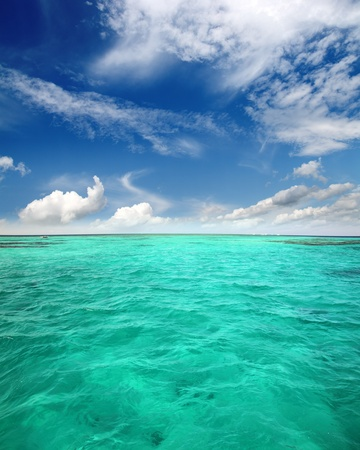 landscape with turquoise sea water and clouds Stock Photo - 8590884
