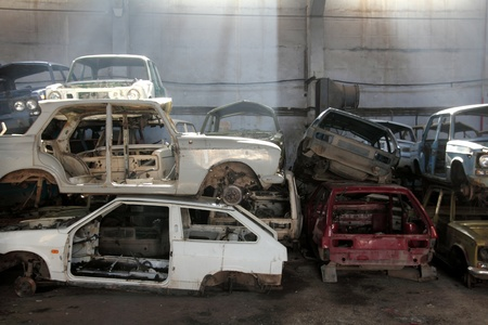 heap of cars is returned for recycling as scrap metal Stock Photo - 9937222