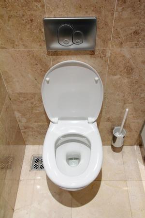 watercloset: lavatory pan in public toilet restroom