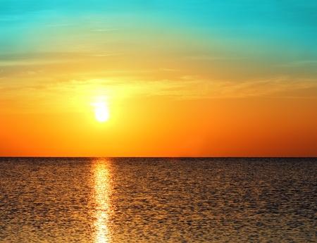 beauty landscape with sunrise over sea photo