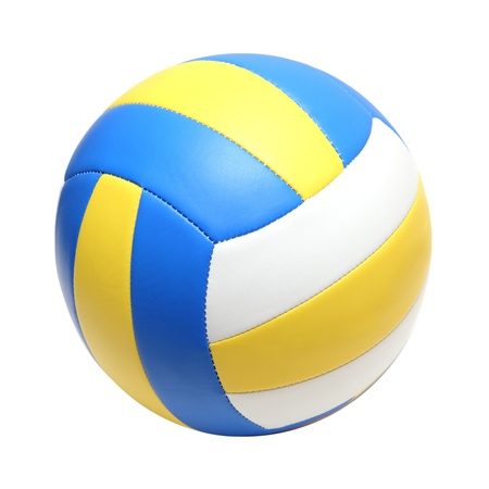 leather color volleyball ball isolated on white Foto de archivo