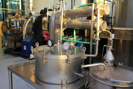 distillation of essential oils in a factory Stockfoto