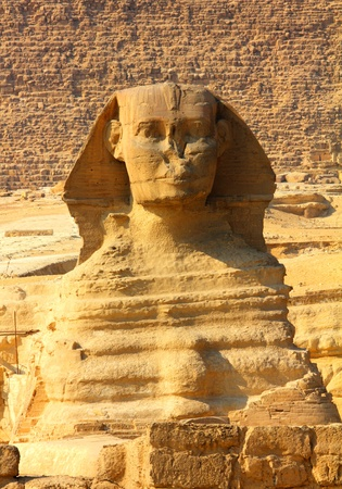 famous ancient egypt sphinx and pyramid in Giza photo
