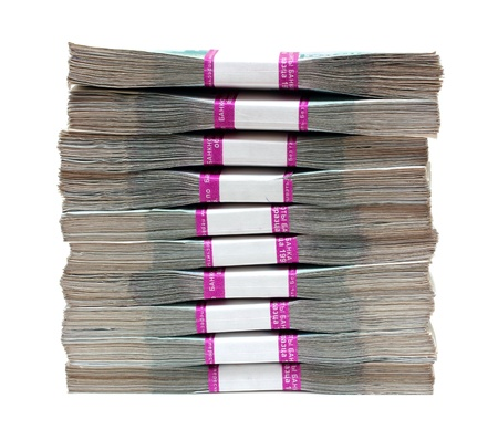 million: million rubles - stack of bills in packs of Russian