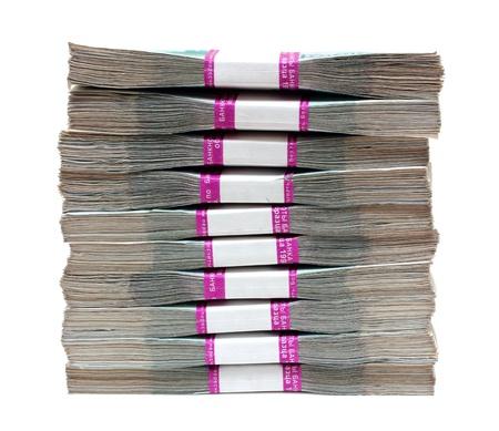 apilar: millones de rublos - pila de billetes en paquetes de Rusia Foto de archivo