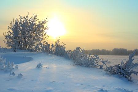 sun rising - winter morning landscape photo