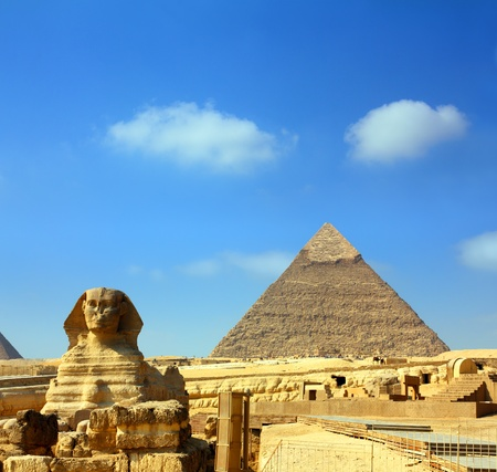 giza: famous ancient egypt Cheops pyramid and sphinx in Giza Stock Photo