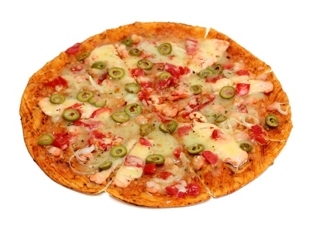 pizza with seafood and olives photo