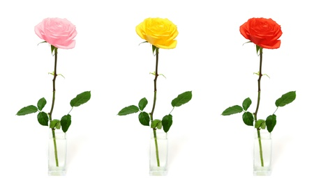 vase color: single rose in vase - three color options Stock Photo