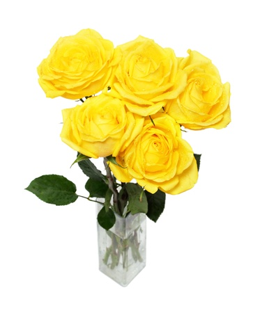 vases: bouquet of yellow roses isolated on white Stock Photo