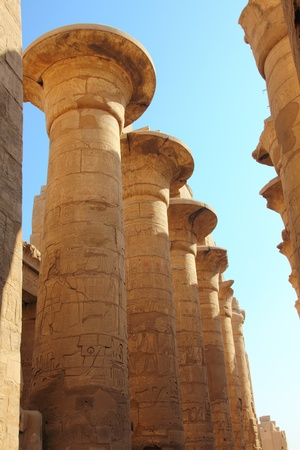 columns in karnak temple with ancient egypt hieroglyphics photo