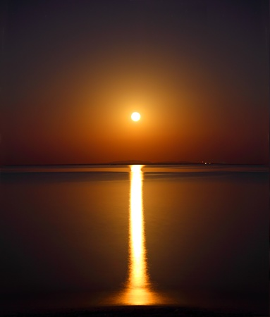 night moon and moonbeam in sea photo