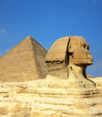 africa antique: famous ancient egypt Cheops pyramid and sphinx in Giza Stock Photo