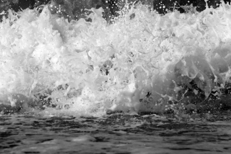 rushing water: close-up view on ocean wave