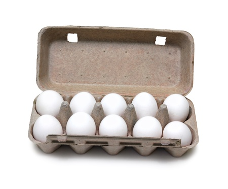 egg carton: ten eggs in pack isolated on white Stock Photo
