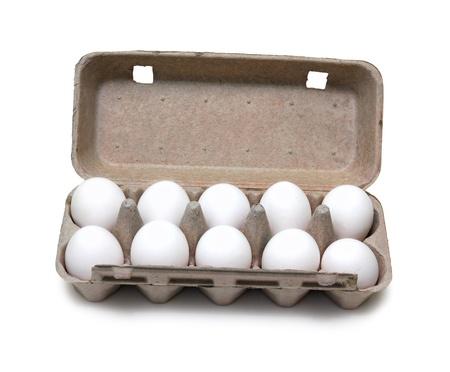 ten eggs in pack isolated on white Stockfoto