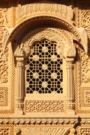 rajput: window of beautiful ornamental building in jaisalmer india