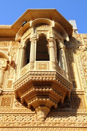 fragment of beautiful ornamental building in jaisalmer india photo
