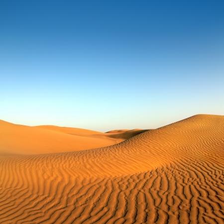 clear sky: beatiful evening landscape in desert Stock Photo