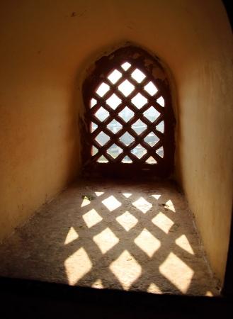 fatehpur: ornament lattice window in rajasthan india Stock Photo