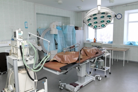 surgery table:  interior of empty operating room Editorial