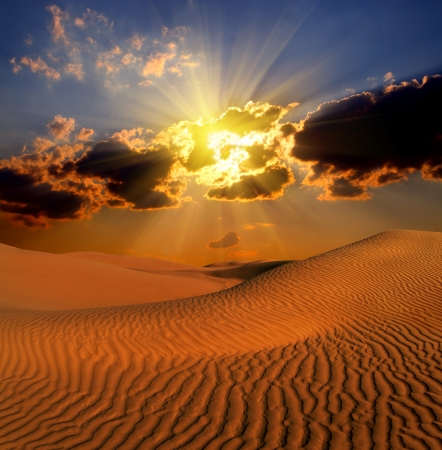 dramatic cloudy suset landscape in desert Stock Photo - 18937157