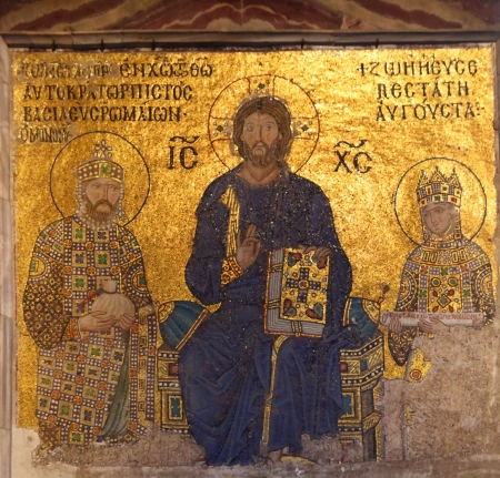 constantine: Jesus Christ is sitting on a throne decorated with jewels witn Empress Zoe and Emperor Constantine IX Monomachus, Hagia Sofia in Istanbul, Turkey Editorial