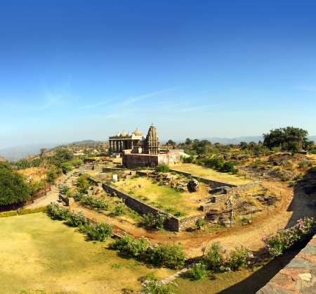 rajput: landscape with old temple in kumbhalgarh fort - rajasthan india