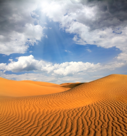 beatiful cloudy evening landscape in desert photo